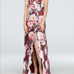 David's bridal floral dress with criss cross back